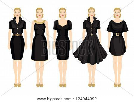 Vector illustration of blonde girls in different models of little black dress