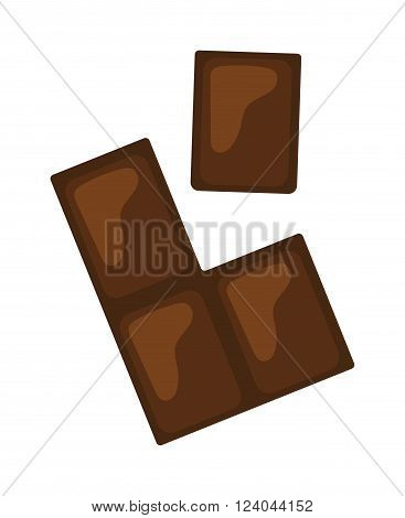 Chocolate pieces vector illustration. Brown chocolate bars stack isolated on white background. Flat hocolate gourmet food. Sweets bars stack candy sweet delicious.