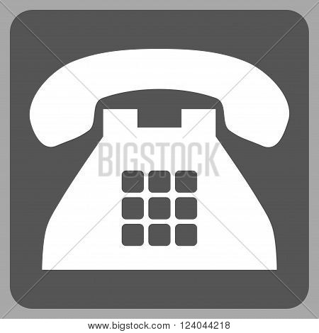 Tone Phone vector icon symbol. Image style is bicolor flat tone phone pictogram symbol drawn on a rounded square with dark gray and white colors.