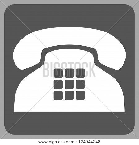 Tone Phone vector icon symbol. Image style is bicolor flat tone phone icon symbol drawn on a rounded square with dark gray and white colors.