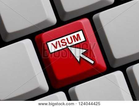 Computer Keyboard with mouse arrow is showing Visum
