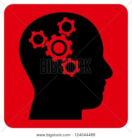 Brain Mechanics vector symbol. Image style is bicolor flat brain mechanics pictogram symbol drawn on a rounded square with intensive red and black colors.