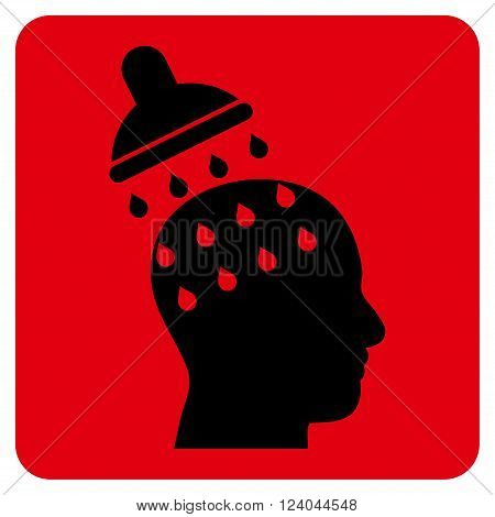 Brain Washing vector icon symbol. Image style is bicolor flat brain washing icon symbol drawn on a rounded square with intensive red and black colors.