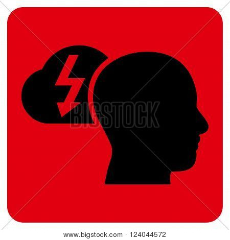 Brainstorming vector pictogram. Image style is bicolor flat brainstorming pictogram symbol drawn on a rounded square with intensive red and black colors.