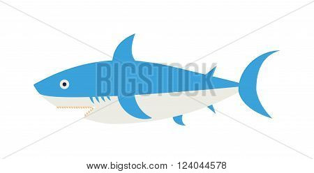 Cartoon Shark vector illustration. Cool flat shark. Vector illustration with cartoon blue shark. Danger shark ocean character. Cartoon underwater shark marine animal. Big fish shark blue fish isolated.