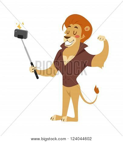 Selfie photo shot lion young boy power strong man illustration on white background. Cartoon lion sportsman, lion man vector hipster. Lion like strong man with human body