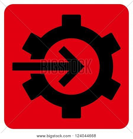 Cog Integration vector pictogram. Image style is bicolor flat cog integration icon symbol drawn on a rounded square with intensive red and black colors.