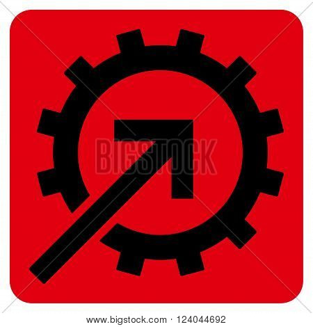 Cog Integration vector icon. Image style is bicolor flat cog integration iconic symbol drawn on a rounded square with intensive red and black colors.