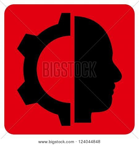 Cyborg Gear vector symbol. Image style is bicolor flat cyborg gear pictogram symbol drawn on a rounded square with intensive red and black colors.