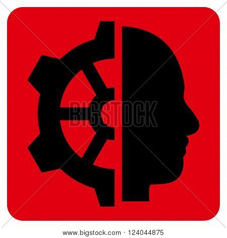 Cyborg Gear vector icon symbol. Image style is bicolor flat cyborg gear iconic symbol drawn on a rounded square with intensive red and black colors.
