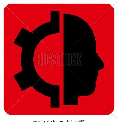 Cyborg Gear vector icon symbol. Image style is bicolor flat cyborg gear pictogram symbol drawn on a rounded square with intensive red and black colors.