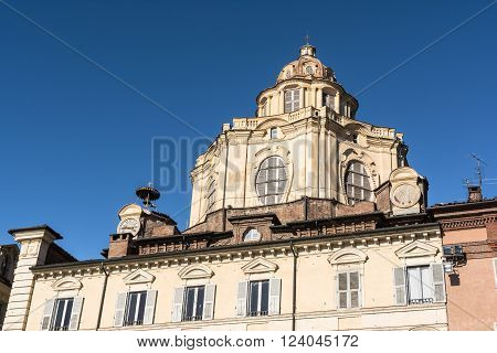 Turin,Italy,Europe - March 3,  2016 : The baroque cupola of San Lorenzo Church in Turin