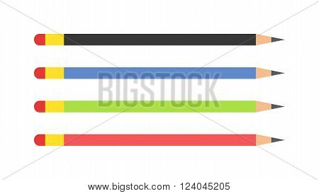 Vector pencils illustration. Colored pencils isolated on white background. Flat education pencils isolated silhouette.