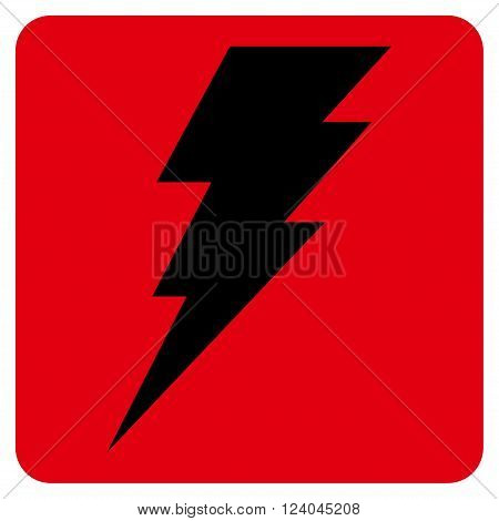 Execute vector symbol. Image style is bicolor flat execute pictogram symbol drawn on a rounded square with intensive red and black colors.