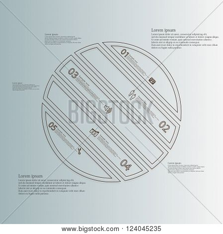 Illustration infographic template with circle askew divided to five parts created by double outlines from brown color. Each part has own number, sign and text. Background is light blue.