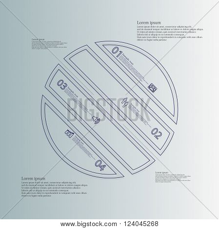 Illustration infographic template with circle askew divided to four parts created by double outlines from blue color. Each part has own number sign and text. Background is light blue.