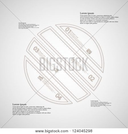 Illustration infographic template with circle askew divided to four parts created by double outlines from brown color. Each part has own number, sign and text. Background is light.