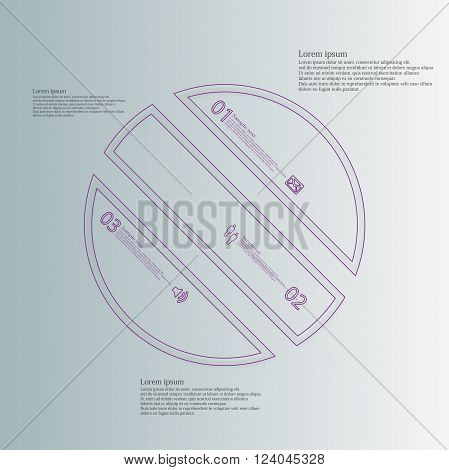 Illustration infographic template with circle askew divided to three parts created by double outlines from purple color. Each part has own number sign and text. Background is light blue.