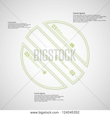 Illustration infographic template with circle askew divided to three parts created by double outlines from green color. Each part has own number sign and text. Background is light.
