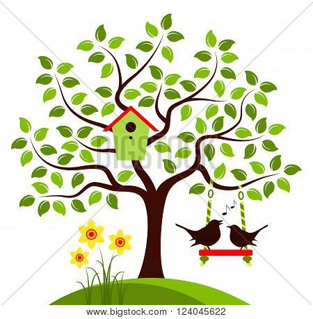 vector tree with nesting bird box, swing and couple of birds isolated on white background