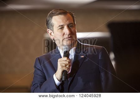 Madison Wisconsin USA - March 30 2016: Republican presidential candidate Ted Cruz speaks to a group of supporters during a free public forum in Madison Wisconsin on March 30 2016.