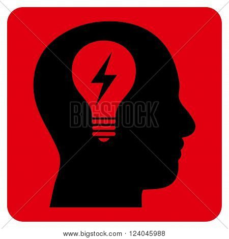 Head Bulb vector symbol. Image style is bicolor flat head bulb iconic symbol drawn on a rounded square with intensive red and black colors.