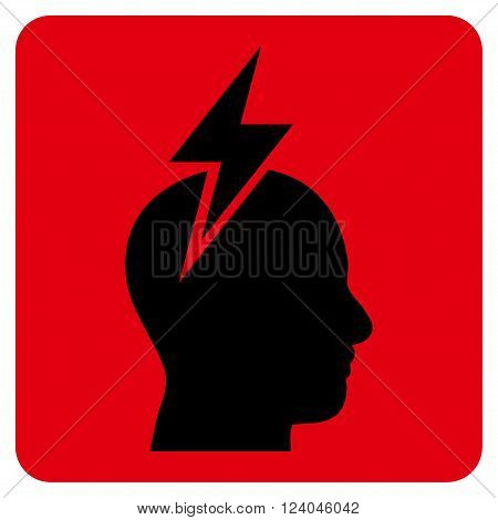 Headache vector symbol. Image style is bicolor flat headache pictogram symbol drawn on a rounded square with intensive red and black colors.
