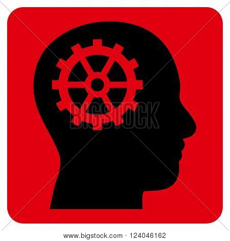 Intellect vector pictogram. Image style is bicolor flat intellect pictogram symbol drawn on a rounded square with intensive red and black colors.