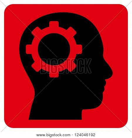 Intellect Gear vector pictogram. Image style is bicolor flat intellect gear icon symbol drawn on a rounded square with intensive red and black colors.