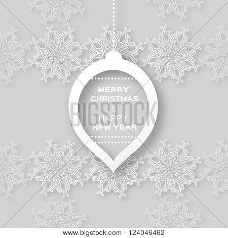 Christmas Snowflakes background with paper ball - cut from paper concept. Vector illustration eps10.