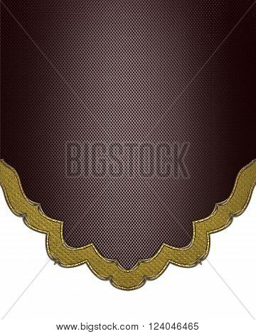 Brown Texture With Gold Border. Template For Design. Copy Space For Ad Brochure Or Announcement Invi