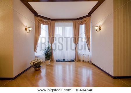 modern luxury interior - hall with the balcony door