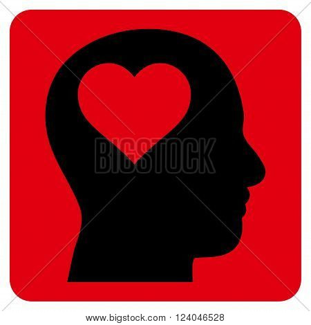 Lover Head vector symbol. Image style is bicolor flat lover head iconic symbol drawn on a rounded square with intensive red and black colors.