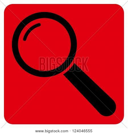 Magnifier vector icon. Image style is bicolor flat magnifier pictogram symbol drawn on a rounded square with intensive red and black colors.