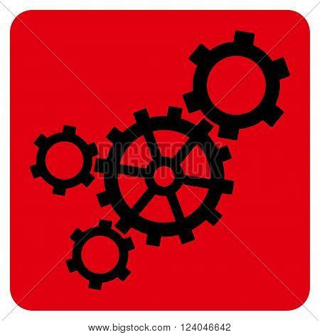 Mechanism vector pictogram. Image style is bicolor flat mechanism icon symbol drawn on a rounded square with intensive red and black colors.