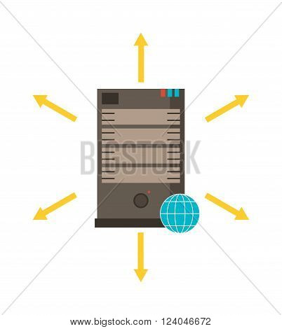 Computer server icon vector illustration. Server symbol isolated on white background. Internet server icon vector. Server room flat silhouette