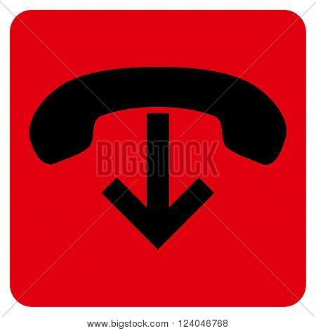 Phone Hang Up vector icon. Image style is bicolor flat phone hang up icon symbol drawn on a rounded square with intensive red and black colors.