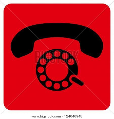 Pulse Dialing vector pictogram. Image style is bicolor flat pulse dialing icon symbol drawn on a rounded square with intensive red and black colors.