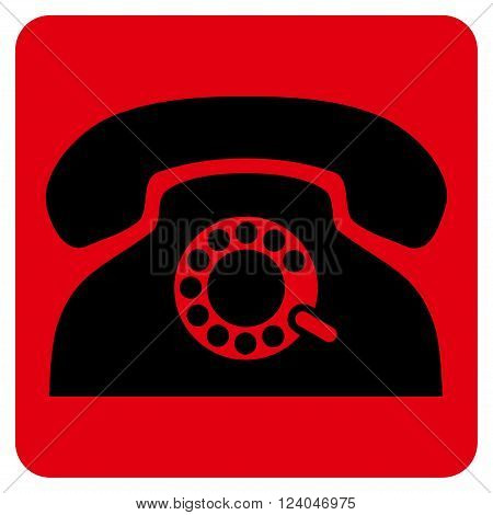 Pulse Phone vector symbol. Image style is bicolor flat pulse phone pictogram symbol drawn on a rounded square with intensive red and black colors.