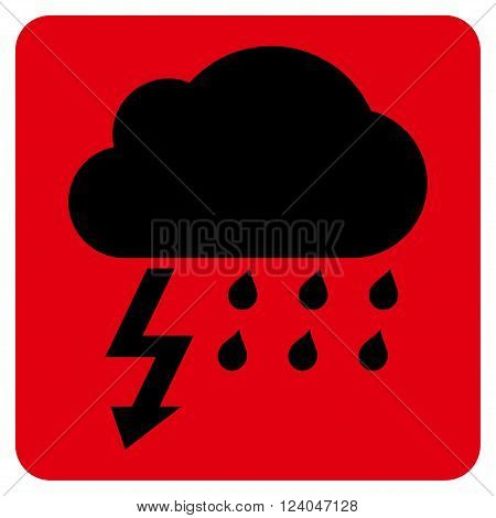 Thunderstorm vector symbol. Image style is bicolor flat thunderstorm icon symbol drawn on a rounded square with intensive red and black colors.