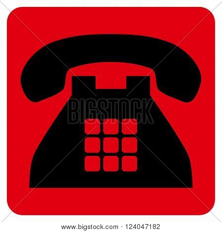 Tone Phone vector icon. Image style is bicolor flat tone phone icon symbol drawn on a rounded square with intensive red and black colors.
