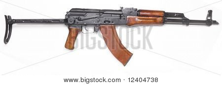 Well known traditional AK-47 kalashnikov assault rifle.