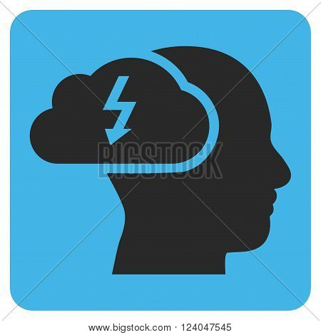 Brainstorming vector pictogram. Image style is bicolor flat brainstorming iconic symbol drawn on a rounded square with blue and gray colors.