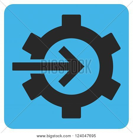 Cog Integration vector symbol. Image style is bicolor flat cog integration icon symbol drawn on a rounded square with blue and gray colors.