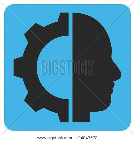 Cyborg Gear vector icon symbol. Image style is bicolor flat cyborg gear icon symbol drawn on a rounded square with blue and gray colors.