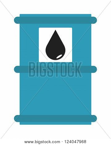 Industrial concept oil tank storage fuel and oil tank liquid container. Blue metal oil tank barrel cartoon flat vector illustration.