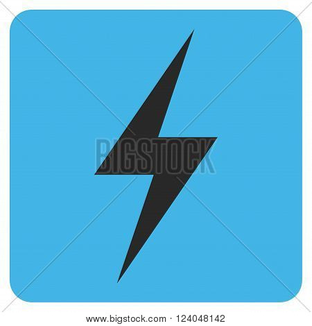 Electricity vector pictogram. Image style is bicolor flat electricity iconic symbol drawn on a rounded square with blue and gray colors.