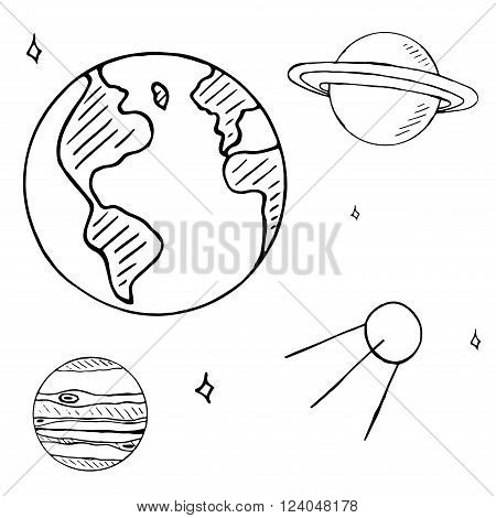 Set of space doodles isolated on white background. space flight doodles hand drawn planets satellite and stars