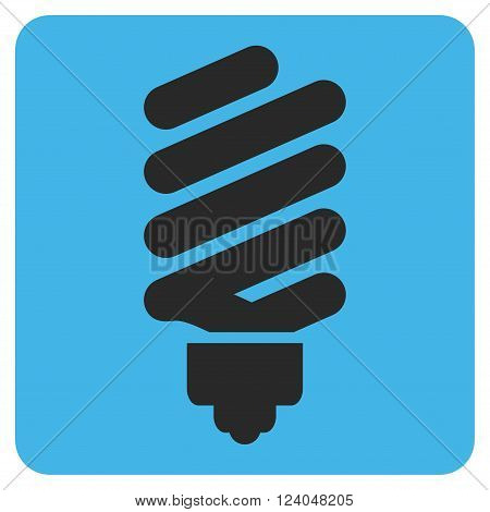 Fluorescent Bulb vector pictogram. Image style is bicolor flat fluorescent bulb iconic symbol drawn on a rounded square with blue and gray colors.