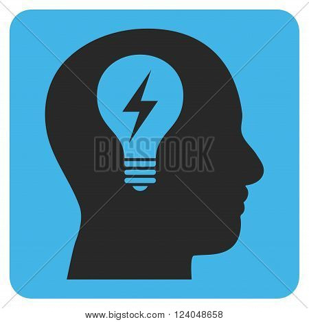 Head Bulb vector pictogram. Image style is bicolor flat head bulb pictogram symbol drawn on a rounded square with blue and gray colors.